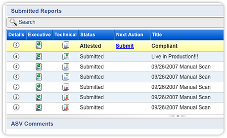 PCI screenshot submitted reports