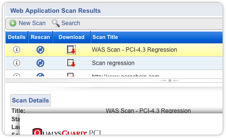 PCI web app scan results