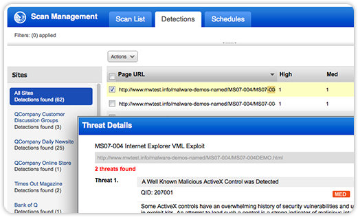 Qualys Malware Detection Scan management Screenshot
