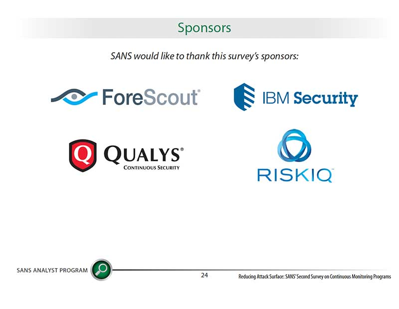 SANS Second 2016 Survey on Continuous Monitoring Programs whitepaper sponsors